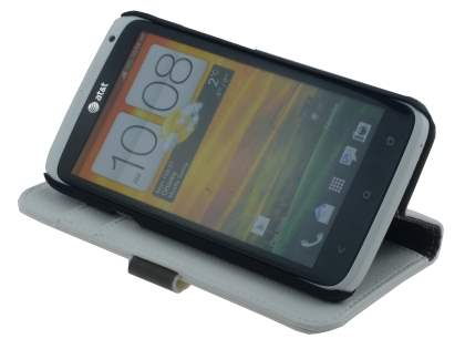 HTC One X / XL / X+ Slim Synthetic Leather Wallet Case with Stand - White