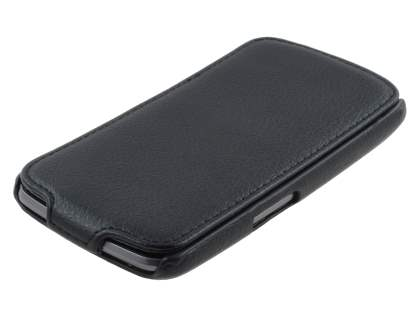 Samsung I9250 Galaxy Nexus Slim Synthetic Leather Flip Case - Black