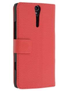 Sony Xperia S Slim Synthetic Leather Wallet Case with Stand - Red Leather Wallet Case