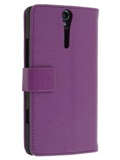 Sony Xperia S Slim Synthetic Leather Wallet Case with Stand - Purple Leather Wallet Case