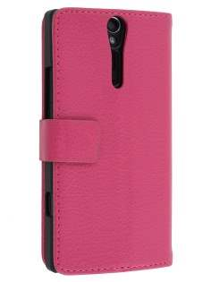 Sony Xperia S Slim Synthetic Leather Wallet Case with Stand - French Rose Leather Wallet Case