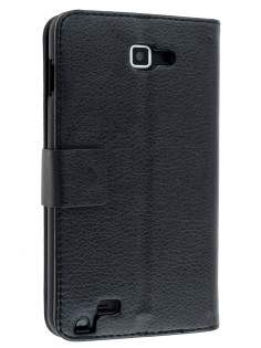 Samsung Galaxy Note Slim Synthetic Leather Wallet Case with Stand - Classic Black