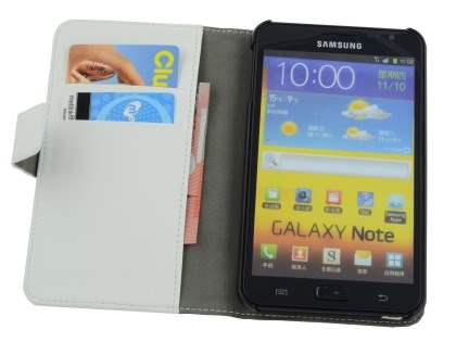 Samsung Galaxy Note Slim Synthetic Leather Wallet Case with Stand - Pearl White