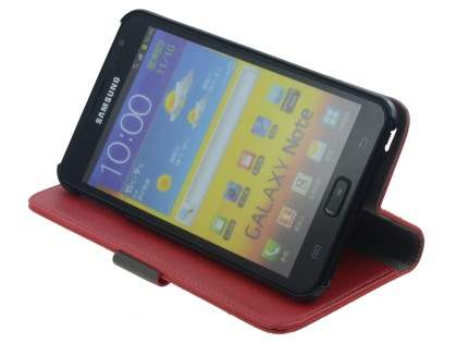 Samsung Galaxy Note Slim Synthetic Leather Wallet Case with Stand - Red