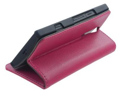 Sony Xperia S Slim Synthetic Leather Wallet Case with Stand - French Rose