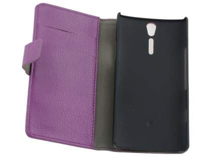 Sony Xperia S Slim Synthetic Leather Wallet Case with Stand - Purple