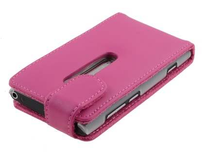 Nokia Lumia 800 Genuine Leather Flip Case - Pink