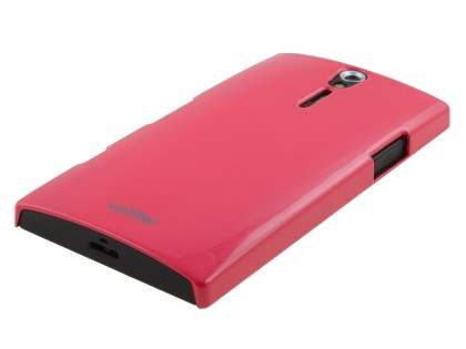 Vollter Ultra Slim Glossy Case plus Screen Protector for Sony Xperia S - Amaranth Red