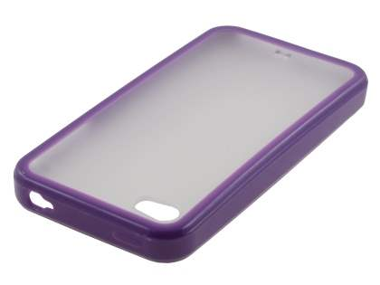 Dual-Design Case for iPhone 4S/4 - Purple/Frosted Clear