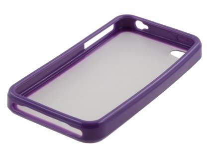 iPhone 4S/4 Dual-Design Case - Purple/Frosted Clear