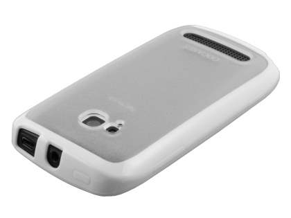 COCASES Dual-Design Case plus Screen Protector for Nokia Lumia 710 - White/Frosted Clear