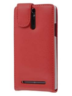 Sony Xperia S LT26i Genuine Leather Flip Case - Red Leather Flip Case