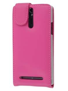 Sony Xperia S LT26i Genuine Leather Flip Case - Pink Leather Flip Case