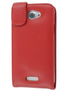 HTC One X / XL / X+ Genuine Leather Flip Case - Red Leather Flip Case
