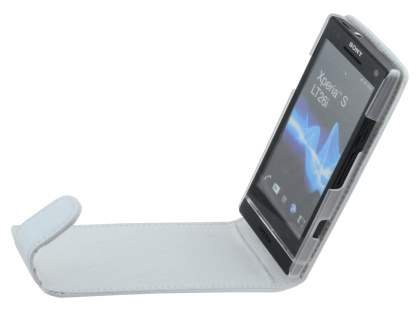 Sony Xperia S LT26i Genuine Leather Flip Case - Pearl White