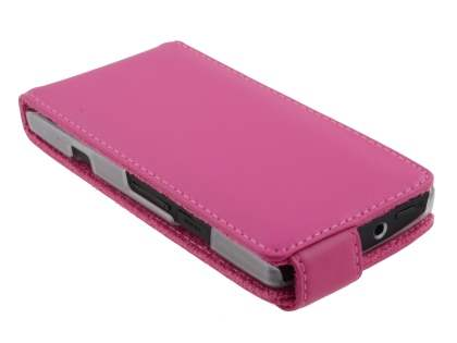 Sony Xperia S LT26i Genuine Leather Flip Case - Pink