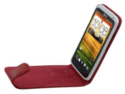 HTC One X / XL / X+ Genuine Leather Flip Case - Red