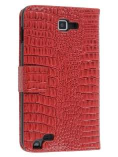 Samsung Galaxy Note Synthetic Crocodile Skin leather Wallet Case with Stand - Red Leather Wallet Case