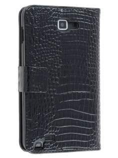 Samsung Galaxy Note Synthetic Crocodile Skin leather Wallet Case with Stand - Classic Black Leather Wallet Case
