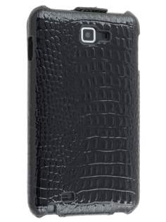 Samsung Galaxy Note Slim Synthetic Crocodile Skin Leather Flip Case - Classic Black