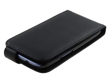 Samsung I9300 Galaxy S3 Genuine Leather Flip Case - Classic Black