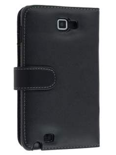 Samsung I9220 Galaxy Note Synthetic Leather Wallet Case - Classic Black Leather Wallet Case