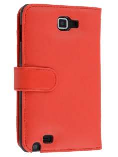 Samsung I9220 Galaxy Note Synthetic Leather Wallet Case - Red Leather Wallet Case