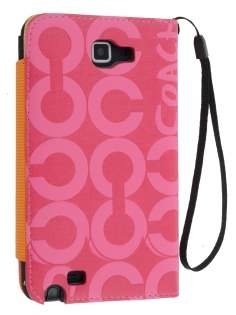 Stylish Synthetic Leather C Wallet Case with Strip for Samsung I9220 Galaxy Note  - Pink