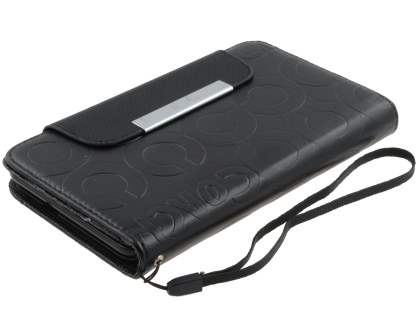 Stylish Synthetic Leather C Wallet Case with Strip for Samsung I9220 Galaxy Note  - Classic Black