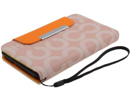 Stylish Synthetic Leather C Wallet Case with Strip for Samsung I9220 Galaxy Note  - Baby Pink