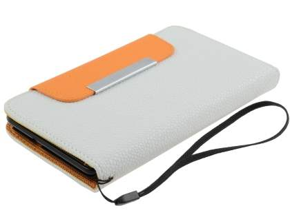 Stylish Synthetic Leather C Wallet Case with Strip for Samsung I9220 Galaxy Note - Pearl White