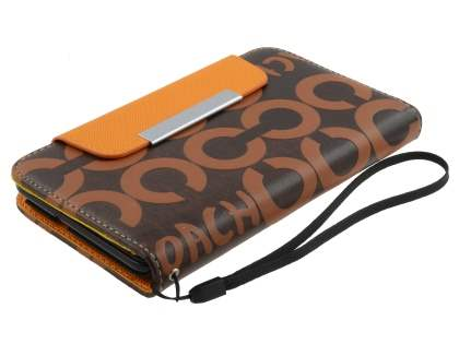 Stylish Synthetic Leather C Wallet Case with Strip for Samsung I9220 Galaxy Note  - Brown