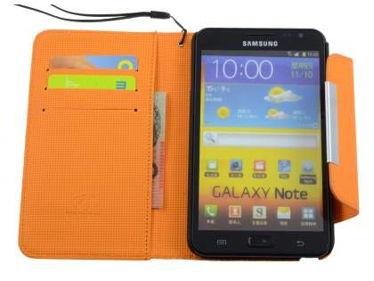 Stylish Synthetic Leather C Wallet Case with Strip for Samsung I9220 Galaxy Note  - Dark Brown