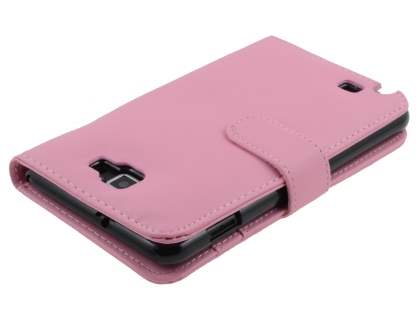 Samsung I9220 Galaxy Note Synthetic Leather Wallet Case - Baby Pink