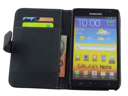 Samsung I9220 Galaxy Note Synthetic Leather Wallet Case - Classic Black