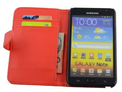 Samsung I9220 Galaxy Note Synthetic Leather Wallet Case - Red