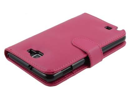 Samsung I9220 Galaxy Note Synthetic Leather Wallet Case - Pink