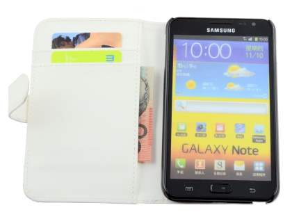 Samsung I9220 Galaxy Note Synthetic Leather Wallet Case - Pearl White