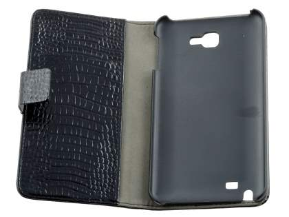 Samsung Galaxy Note Synthetic Crocodile Skin leather Wallet Case with Stand - Classic Black