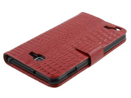 Samsung Galaxy Note Synthetic Crocodile Skin leather Wallet Case with Stand - Red