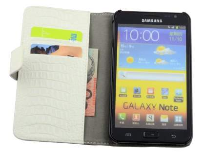 Samsung Galaxy Note Synthetic Crocodile Skin leather Wallet Case with Stand - Cream