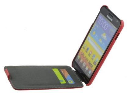 Samsung I9220 Galaxy Note Slim Synthetic Leather Flip Case - Red