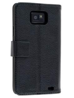 Samsung I9100 Galaxy S2 Slim Synthetic Leather Wallet Case with Stand - Classic Black Leather Wallet Case