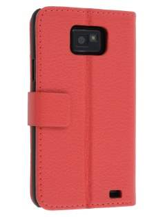Samsung I9100 Galaxy S2 Slim Synthetic Leather Wallet Case with Stand - Red Leather Wallet Case