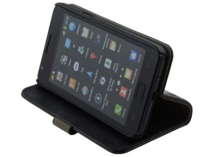 Samsung I9100 Galaxy S2 Slim Synthetic Leather Wallet Case with Stand - Classic Black