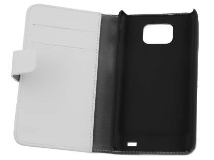 Samsung I9100 Galaxy S2 Slim Synthetic Leather Wallet Case with Stand - Pearl White