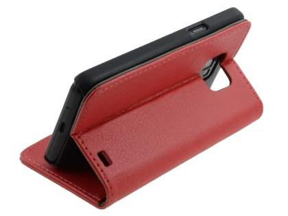 Samsung I9100 Galaxy S2 Slim Synthetic Leather Wallet Case with Stand - Red