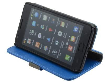 Samsung I9100 Galaxy S2 Slim Synthetic Leather Wallet Case with Stand - Blue