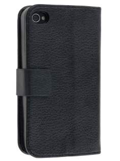 iPhone 4/4S Slim Synthetic Leather Wallet Case with Stand - Classic Black Leather Wallet Case