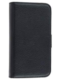 iPhone 4/4S Slim Synthetic Leather Wallet Case with Stand - Classic Black